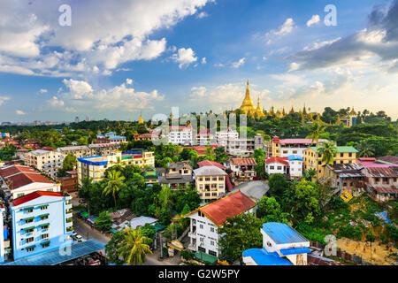 Yangon, Myanmar city skyline. - Stock Photo