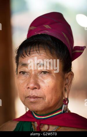 Portrait of a Kayah woman wearing traditional dress, Dawtamakyi village, Kayan State, Myanmar
