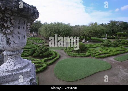 Formal gardens at the historic Vizcaya museum on Biscayne Bay in the Coconut Grove area of Miami, Florida. - Stock Photo