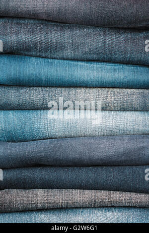 Stacked jeans closeup - Stock Photo