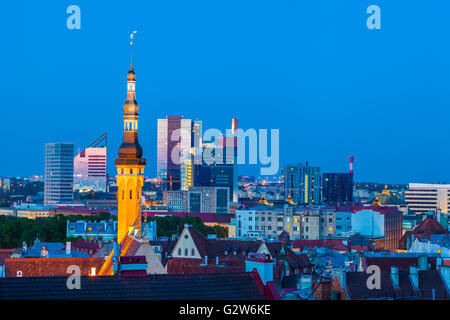 Cityscape of old Tallinn, old and modern buildings at twilight - Stock Photo