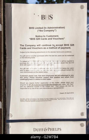 Merseyside, UK. 3rd June, 2016. Chapel Street branch to close. The future of Southport BHS is bleak after administrators - Stock Photo