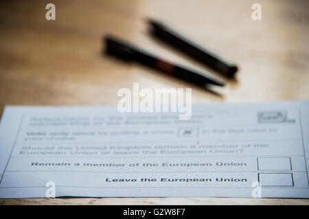 A simple choice? Stay or Go? A postal vote awaits completion with the aid of the Electoral Commission official voting - Stock Photo