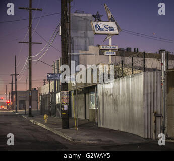 Los Angeles, California, USA. 13th Feb, 2016. The Blue Star Restaurant sits at 15th and Mateo, in an area populated - Stock Photo
