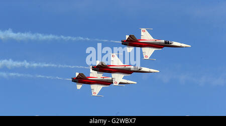 Schoenefeld, Germany. 3rd June, 2016. The Swiss acrobatic flight squadron 'Patrouille Suisse' with their Northrop - Stock Photo