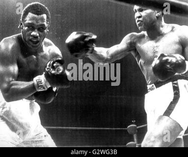 FILE - A file picture dated 29 January 1974 shows US heavyweight boxer Muhammad Ali (R) and his opponent Joe Frazier - Stock Photo