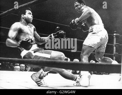 FILE - A file picture dated 08 March 1971 shows US heavyweight boxer Muhammad Ali (L) being knocked off his feet - Stock Photo