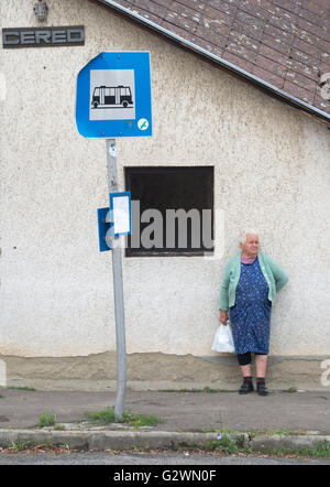 Villager at a bus stop - Stock Photo