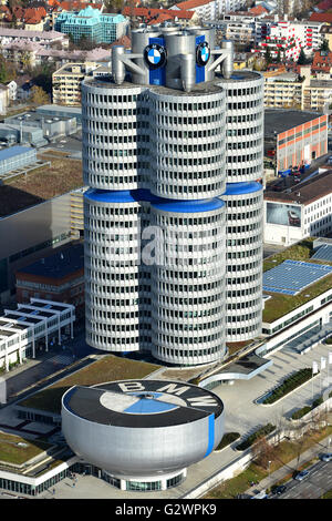 14.11.2015, Munich, Bavaria, Germany - Look at the BMW Museum and the BMW Tower. 0HD160104D039CAROEX.JPG - NOT for - Stock Photo