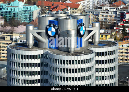 14.11.2015, Munich, Bavaria, Germany - Look at the BMW Tower. 0HD160104D040CAROEX.JPG - NOT for SALE in G E R M - Stock Photo