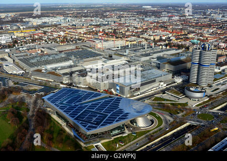 14.11.2015, Munich, Bavaria, Germany - Look at the BMW Welt, the BMW Tower, the BMW Museum and the BMW plant. 0HD160104D043CAROEX.JPG - Stock Photo