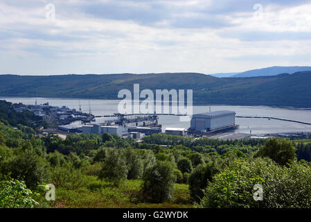 Faslane naval base on the Gareloch, home to Britain's Trident nuclear submarine fleet - Stock Photo