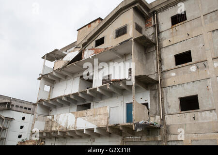 Demolition of old closed factory buildings to make place for new apartments on the outside of the city Nanjing - Stock Photo