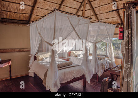 Inside a tented lodge at Nehimba Safari Lodge Zimbabwe - Stock Photo