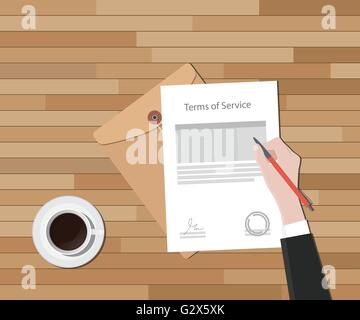 tos terms of service hand sign a paper document and glass of coffee vector graphic - Stock Photo