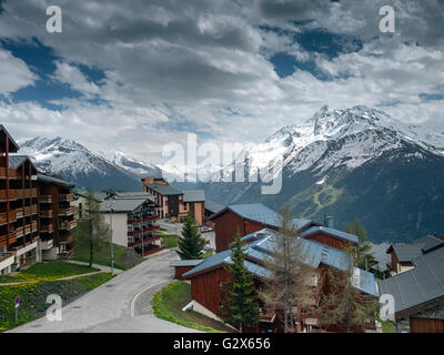 View from the French ski resort of La Rosiere (1850m) at the end of May. Mont Pourri (3,779 m), is across the valley - Stock Photo