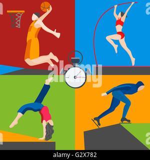 Athletes skater, basketball, pole vaulting, dancer - Stock Photo