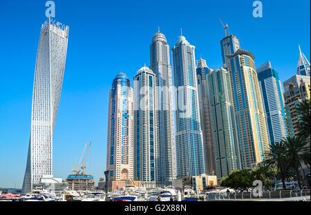 Skyscrapers in Dubai Marina UAE. - Stock Photo