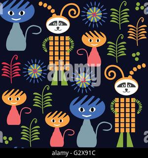 Monsters dark seamless pattern and seamless pattern in swatch menu, vector image - Stock Photo