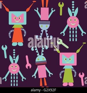 Robots seamless pattern and seamless pattern in swatch menu, vector image - Stock Photo
