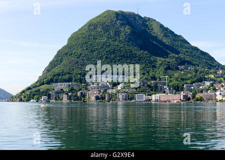 View of the bay of Lugano on Switzewrland - Stock Photo