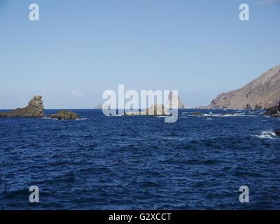 Sea at Roque de las Bodegas, Tenerife, Canary Islands, Spain, Europe - Stock Photo