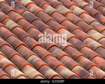 Roman Terracotta Roof Tiles On Display At Fishbourne Roman