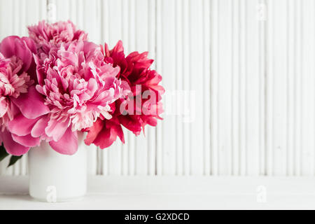 Mother day background with pink peonies flowers - Stock Photo