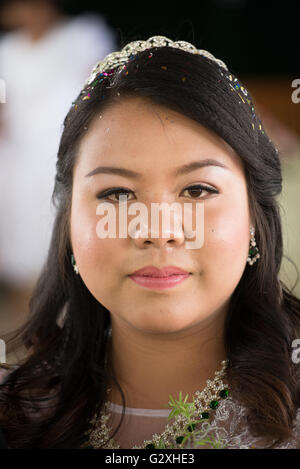 Pa'O bride at her wedding party, Shan State, Myanmar - Stock Photo