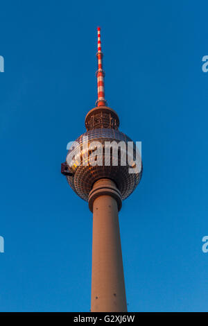The TV Tower or  Fernsehturm in Alexanderplatz , the tallest structure in Germany ,Berlin , Germany - Stock Photo