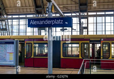 S Bahn train at Alexanderplatz Hauptbahnhof , Berlin ,Germany - Stock Photo