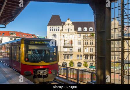 S Bahn train approaching station  , Berlin , Germany - Stock Photo
