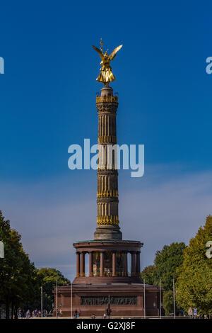 Berlin Victory Column , Great Star square in Tiergarten public park, Berlin Mitte district, Germany. - Stock Photo