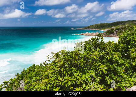 View to Petite Anse in La Digue, Seychelles from a hill - Stock Photo
