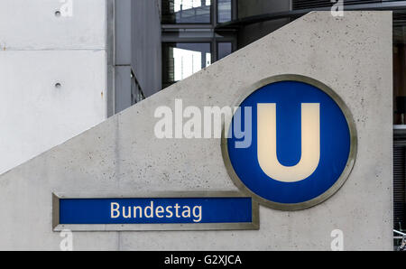 U Bahn Station entrance , Bundestag , Berlin , Germany - Stock Photo