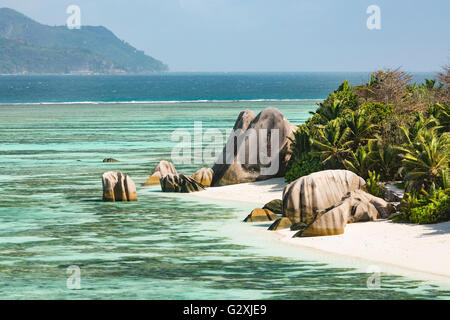 High angle view of the famous Anse Source D'Argent in La Digue, Seychelles from an observation point - Stock Photo