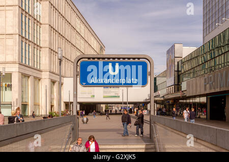 U Bahn Station Entrance and sign , Berlin , Germany - Stock Photo
