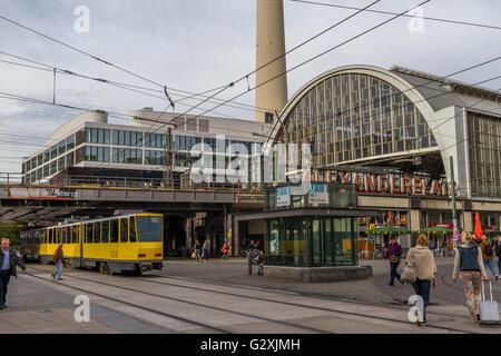 Berlin Tram At Alexanderplatz, Berlin , Germany - Stock Photo
