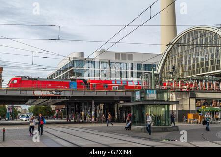 Train passing through Alexanderplatz Hauptbahnhof , Berlin , Germany - Stock Photo