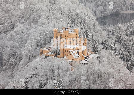 Hohenschwangau Castle in winter landscape - Stock Photo