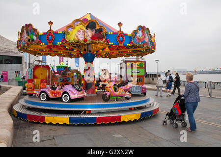 Childrens Roundabout at International Mersey River Festival 2016, Liverpool, Merseyside, UK - Stock Photo