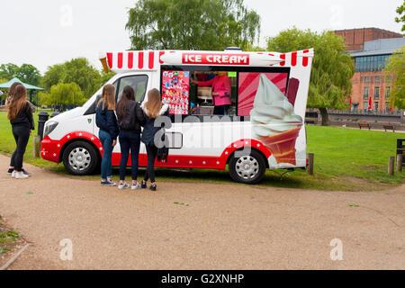 People Queueing At An Ice Cream Van Stratford-Upon-Avon Warwickshire UK - Stock Photo
