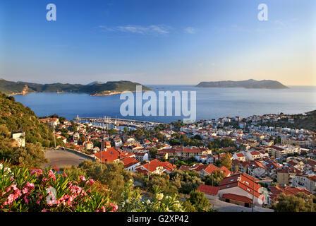 The picturesque town of Kas (ancient name 'Antiphellos'), Lycia, Antalya province Turkey. In the BG Kastelorizo - Stock Photo