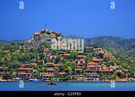 Kalekoy (Ancient Simena), Kekova, Lycia, Antalya province, Turkey. - Stock Photo
