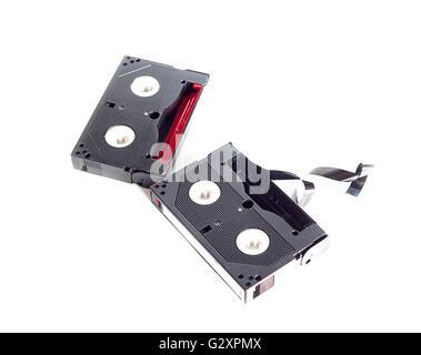 Mini DV Tape. Cassette tape on white  background - Stock Photo