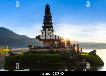 Pura Ulun Danu Bratan at sunrise, famous temple on the lake, Bedugul, Bali, Indonesia. - Stock Photo