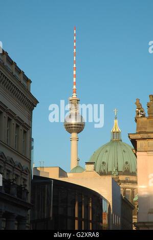 TV tower on Alexander Platz in Berlin Germany - Stock Photo