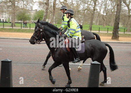 LONDON, UNITED KINGDOM - APRIL 09: Unidentified  officers - horse police somewhere on street in London. 09.04.2009 - Stock Photo