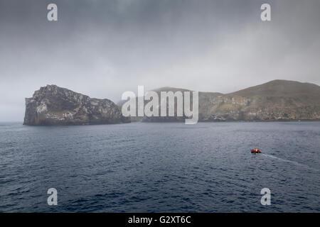 Zodiac cruising at Antipodes Island, New Zealand sub-Antarctic - Stock Photo