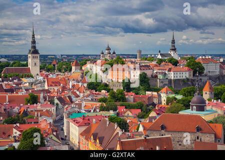 Tallinn. Aerial image of Old Town Tallinn in Estonia. - Stock Photo